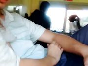 Daring young girlfriend performing oral blowjob in public bus