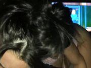 Cutie girlfriend performs oral blowjob while boyfriend watches TV