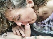 Lovely married woman close up oral sexual intercourse outdoor